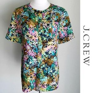 J Crew Silk Floral Short-Sleeve Button-Down Top